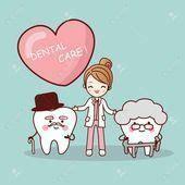 diente viejo de dibujos animados feliz  dentista gran