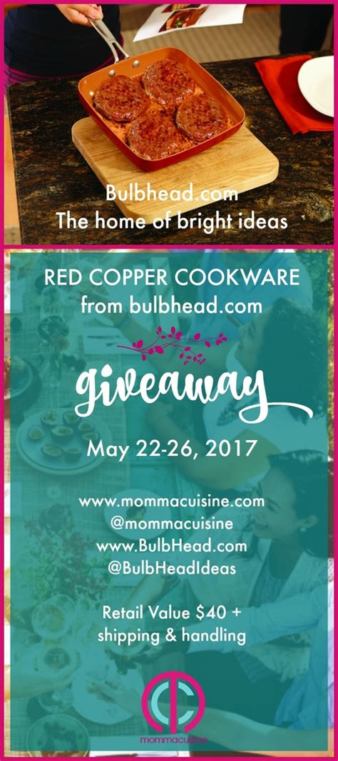 giveaway red copper cookware set  bulbheadideas blog