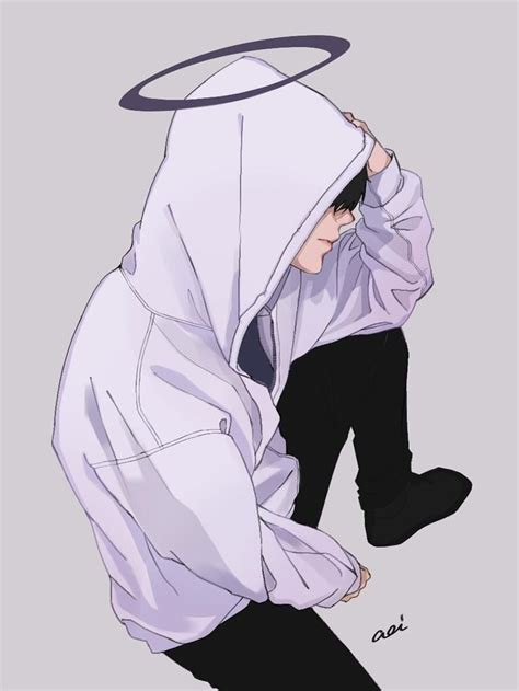 sad aesthetic anime boy