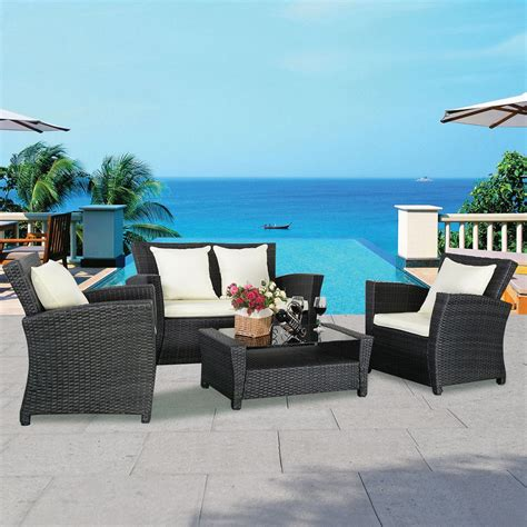 4pc patio rattan sofa set outdoor garden furniture wicker