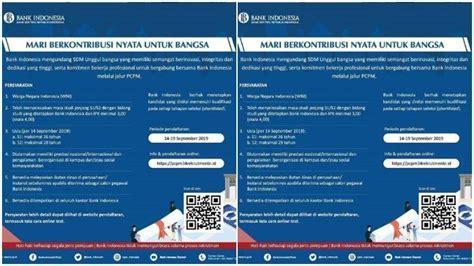 hari terakhir lowongan kerja bank indonesia seleksi pcpm