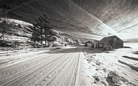 Snow Winter Road House Bw Trees Black White Roads