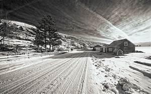 Snow Winter Road House BW Trees black white roads ...
