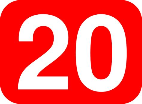Rectangle, Rounded, Number, 20, Red