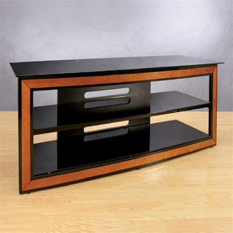 bello versatile black glass  wood trim   tv stand