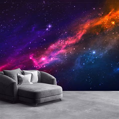 outer space nebula wall mural purple pink sky photo