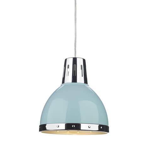 retro style ceiling pendant light pale blue with chrome
