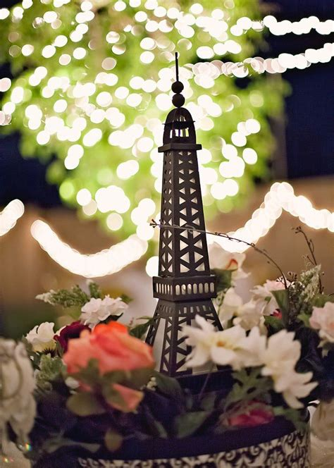 paris themed wedding table centerpiece wonderful