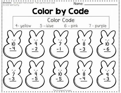 Subtraction Addition Worksheets Code Easter Coloring Spring