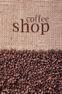 Coffee beans frame background on canvas ... | Stock Photo ...