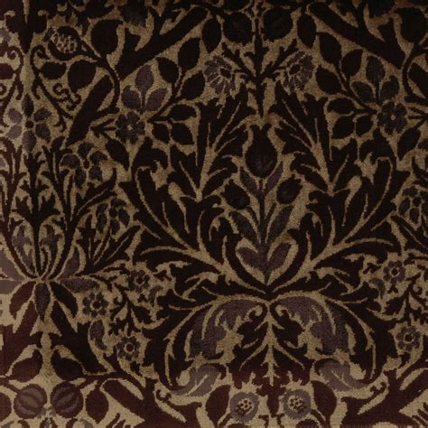 William Morris Upholstery Fabric by Autumn Flowers Fabric Biscuit Plum Bm6683 2 William