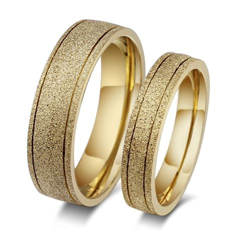 stylish gold titanium steel promise ring for couples lajerrio jewelry