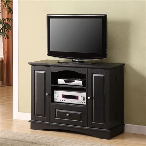 sauder storage cabinet with 42 quot black wood tv stand with dvd storage tvstand com