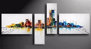 Tableau En 5 Parties : tableau design city couleurs multicolore ejrac ~ Dailycaller-alerts.com Idées de Décoration