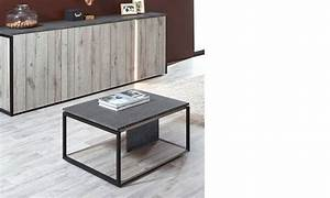 Table Basse Chene Gris : table basse carr e industrielle ch ne gris et marbre ~ Teatrodelosmanantiales.com Idées de Décoration