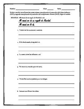 spanish double object pronoun practice worksheet tpt