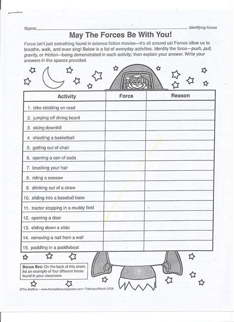 forces and motion activity sheet worksheets for all