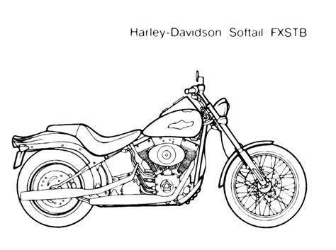 disegno da colorare mezzi  trasporto moto harley softail