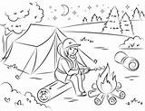 Coloring Camping Campfire Marshmallow Roasting Pages Clipart Summer Printable Picnic Hiking Adult Supercoloring Hello Going Animals Categories Table Nature Games sketch template
