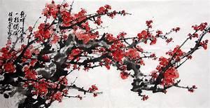 oriental asian original painting ink brush decoration