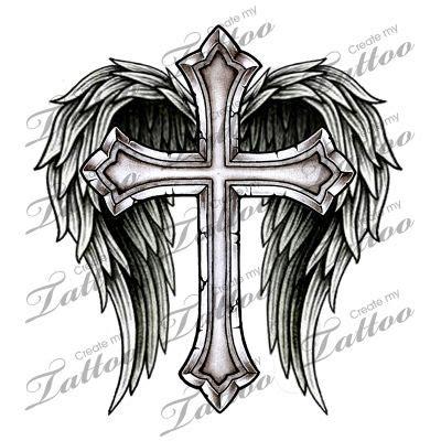 marketplace tattoo cross  wings