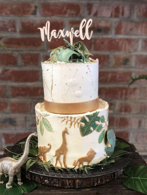 animal safari  dino botanical cake green  gold