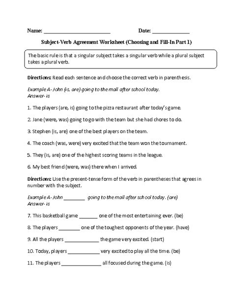 verbs worksheets subject verb agreement worksheets