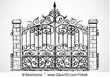 Gate Iron Gates Wrought Clipart Garden Coloring Driveway Rf Clip Entrance парадные Metal Fence Bestvector Clipartof Pagar sketch template
