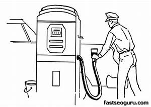 printable gas station coloring pages printable coloring With fuel pump drawing