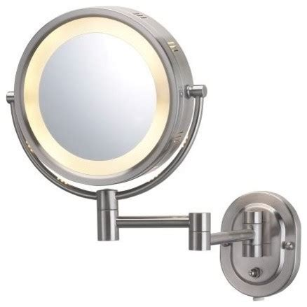 jerdon hl65n 8 quot wall mount halo lighted mirror in nickel