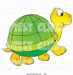 Clip Art of a Cute Yellow Tortoise with a Green Shell ...