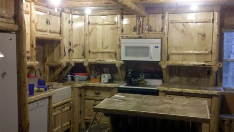 cottage kitchen backsplash ideas handmade rustic log kitchen cabinets and bar by drew 39 s up