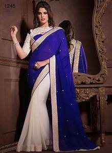 white blue new saree design : Outfit4girls.Com