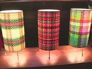 How to weave a cylinder lamp hgtv for Paper cylinder floor lamp