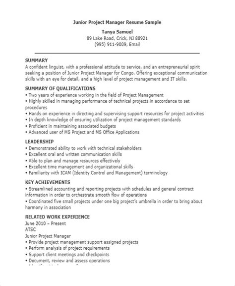 Junior Project Manager Resume Summary manager resume sle templates 43 free word pdf
