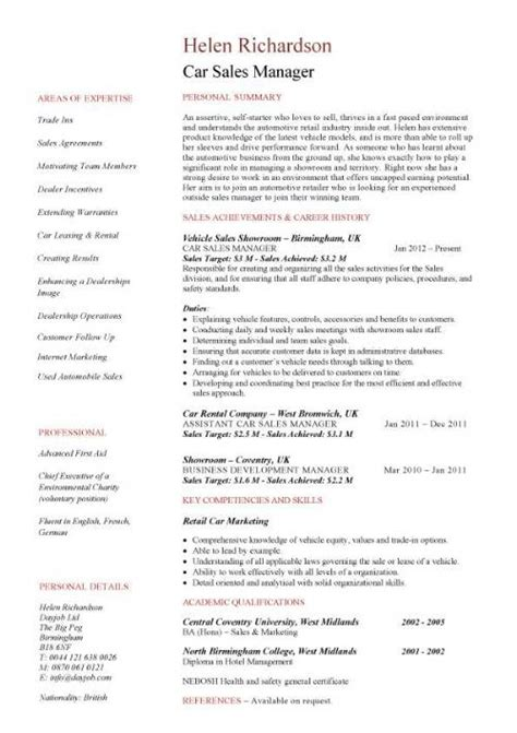 Automotive Sales Resumes by Sales Manager Cv Exle Free Cv Template Sales