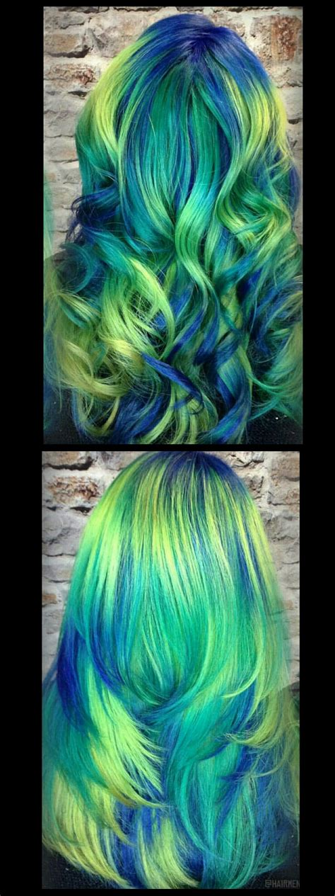 Green Blue Neon Dyed Hair Inspiration Idea Hairmenageries