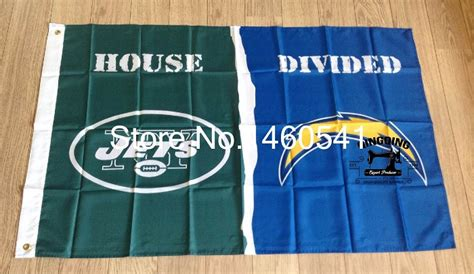 New York Jets San Diego Chargers House Divided Flag 3ft X