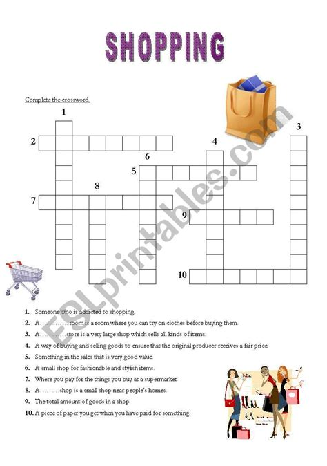 english worksheets shopping crossword