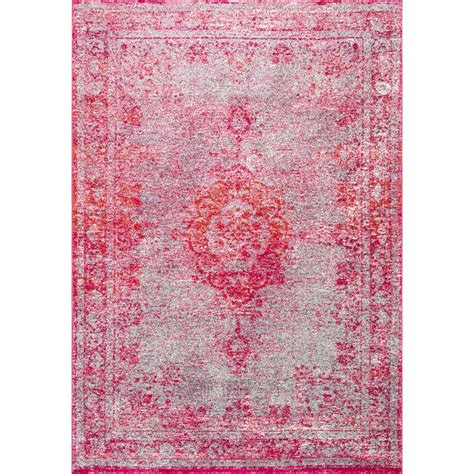 pink area rug 8x10 nuloom tanja overdyed medallion pink 8 ft x 10 ft area