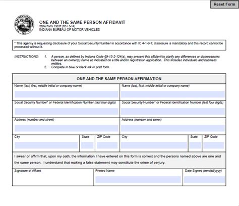 free ohio name change forms indiana one and the same person affidavit legal forms