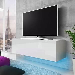 Meuble Tv Suspendu Blanc : meuble suspendu blanc laque achat vente meuble suspendu blanc laque pas cher black friday ~ Teatrodelosmanantiales.com Idées de Décoration
