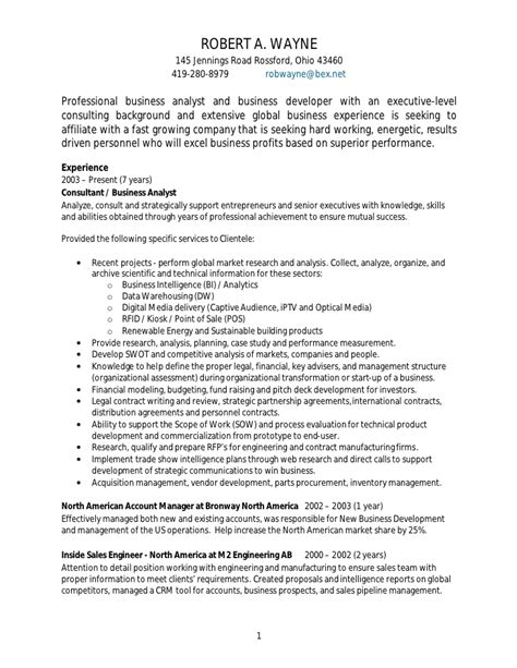 Procurement Analyst Resume Exle by Rob Wayne Business Analyst Resume