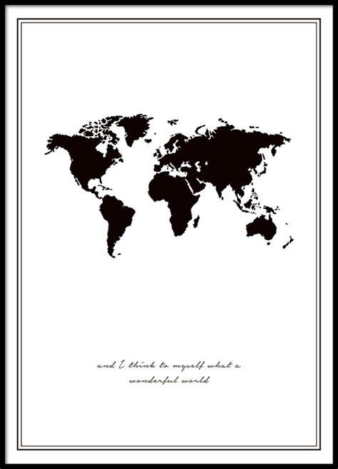 affiche avec atlas mondial posters noir et blanc en