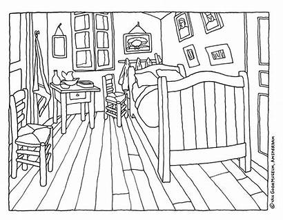 Gogh Van Vincent Bedroom Painting Coloring Drawing