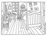 Gogh Van Vincent Bedroom Painting Coloring Drawing Watercolor Museum Salt Project Pages Woojr Activities Pinturas Aquarell Arte Paintings Sayfaları Boyama sketch template