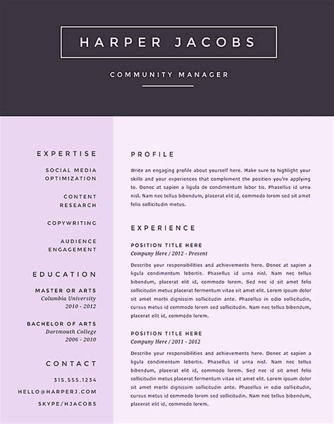 creative microsoft word resume templates