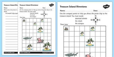 Treasure Island Directions Instruction Writing Worksheet