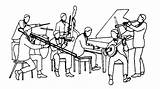 Band Jazz Clipart Drawing Line Cliparts Quotes Library Quotesgram sketch template