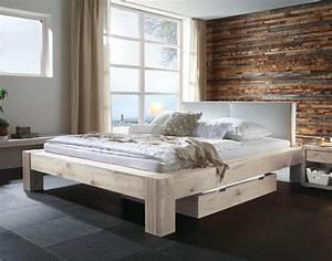 Bett 200x200 Weiß Holz : wildeichenbett z b in wei mit lederkopfteil maia ~ Bigdaddyawards.com Haus und Dekorationen